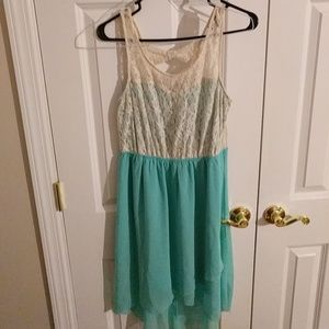 Lace and aqua blue high-low dress